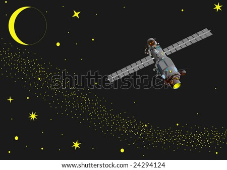 vector -  illustration of satellite at  space - stock vector