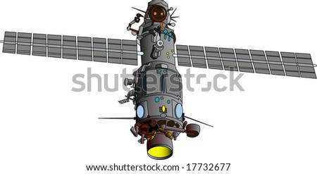 vector  illustration of satellite - orbital base - stock vector