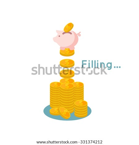vector illustration of Saving money flat business concept, filling money with piggy  bank - stock vector