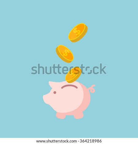 vector illustration of saving money , flat business concept, filling money with piggy  bank - stock vector