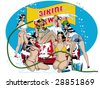 vector illustration of scantily clad women washing a car and having fun - stock vector