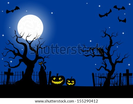 vector illustration of scary halloween background with pumpkin on the cemetery in the dark night with full moon  - stock vector