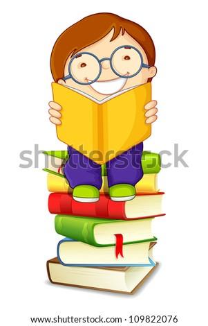 vector illustration of school boy reading on pile of books - stock vector