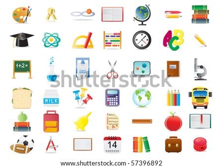 Vector illustration of school education icons - stock vector