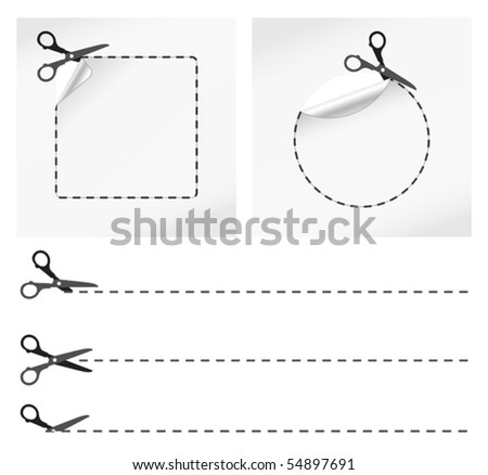 vector illustration of scissors cut stickers - stock vector