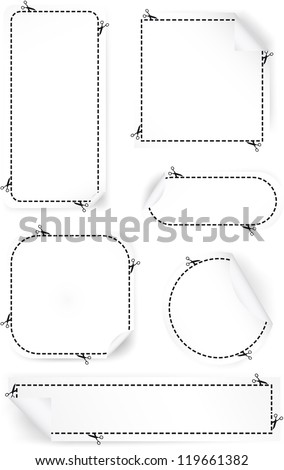 Vector illustration of scissors cutting out advertising coupons