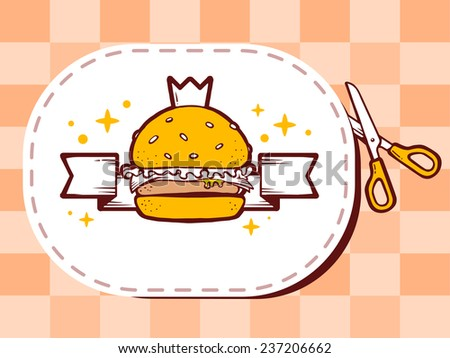 Vector illustration of scissors cutting sticker with icon of burger with crown on pattern background. Line art design for web, site, advertising, banner, poster, board and print. - stock vector