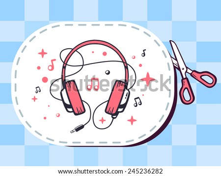 Vector illustration of scissors cutting sticker with icon of headphones on pattern background. Line art design for web, site, advertising, banner, poster, board and print. - stock vector