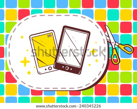 Vector illustration of scissors cutting sticker with icon of phone on pattern background. Line art design for web, site, advertising, banner, poster, board and print. - stock vector