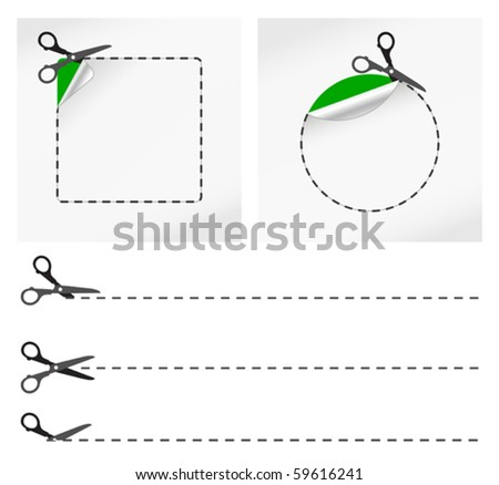 vector illustration of Scissors. Vector sticker - stock vector