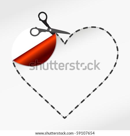 vector illustration of Scissors. Vector sticker heart - stock vector
