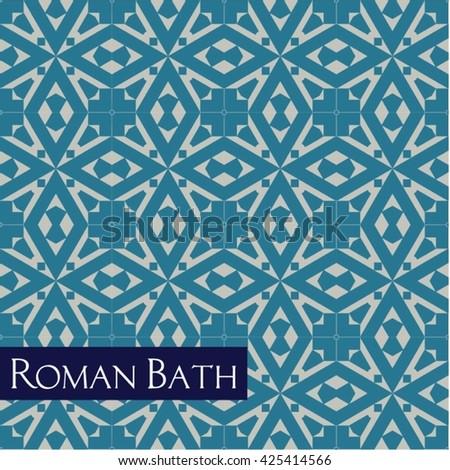 Vector illustration of seamless antique Roman mosaic pattern  - stock vector