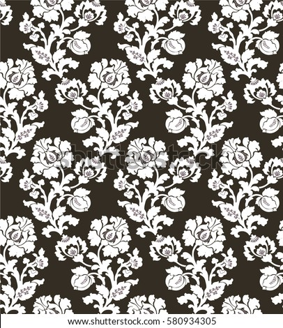 vector illustration seamless black white flower stock
