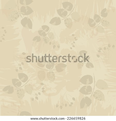Vector illustration of seamless grange floral pattern. Stylized silhouettes of leaves and berries on a beige background - stock vector