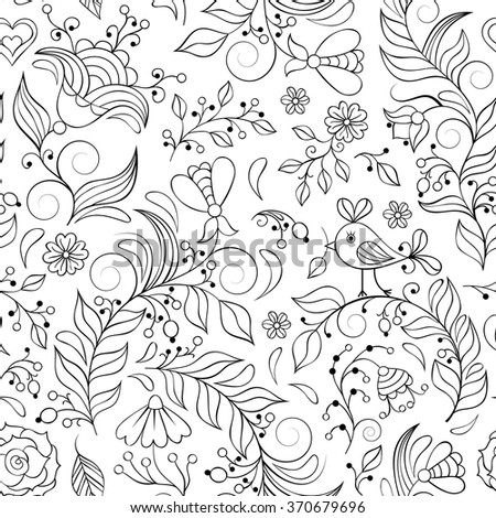 Vector illustration of seamless pattern with abstract flowers.Coloring page for adult