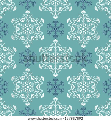 Vector illustration of seamless pattern with abstract snowflakes - stock vector