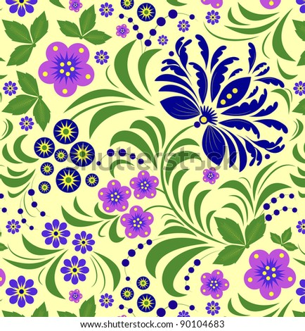 Vector Illustration of seamless pattern with blue flower.Floral background.