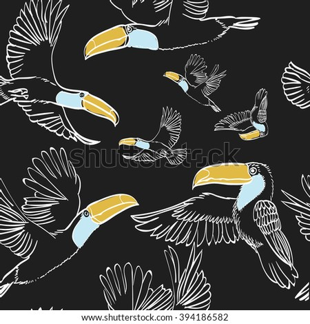 Vector illustration of seamless pattern with flying toucans . Full color graphic: yellow, dark grey,brown. Perfect for wrapping paper, textile printing etc.