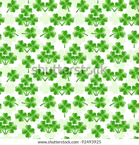 vector illustration of seamless pattern with four leaves clover - stock vector