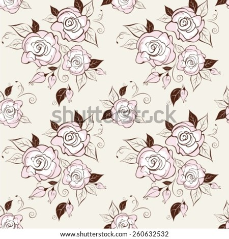 Vector illustration of seamless pattern with the stylized roses. Floral background - stock vector