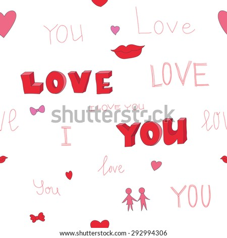 """Vector illustration of seamless romantic pattern with superscription """"I love you"""" - stock vector"""