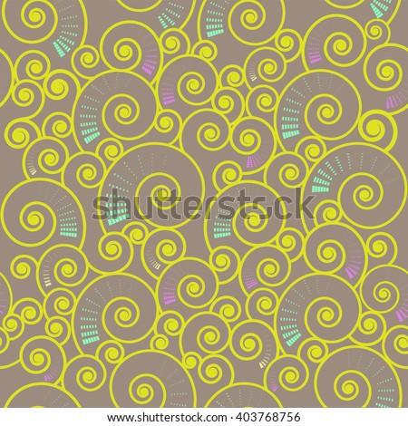 vector illustration of  seamless spiral  swirl pattern on light-brown backdrop - stock vector