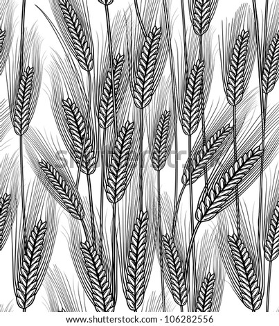 Vector illustration of seamless wheat ears background - stock vector