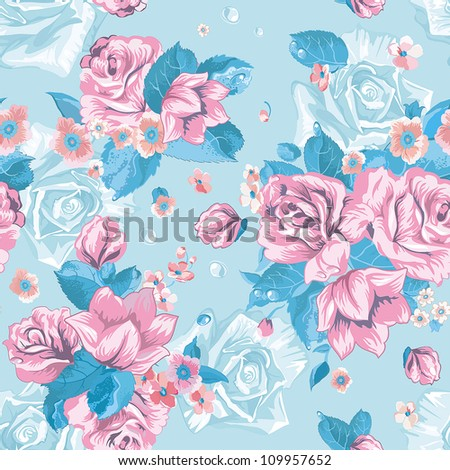 Vector illustration of seamless with colorful abstract flowers. Abstract Elegance floral pattern. Beautiful texture. - stock vector