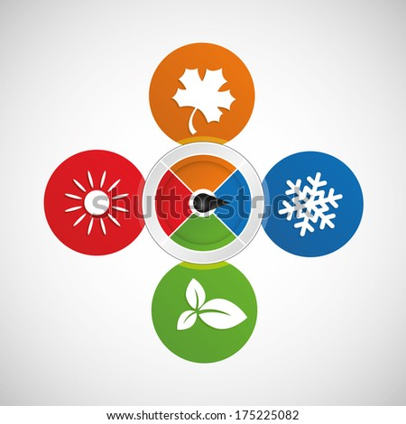 Vector illustration of seasons switch - stock vector