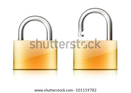 Vector illustration of security concept with locked and unlocked pad lock - stock vector