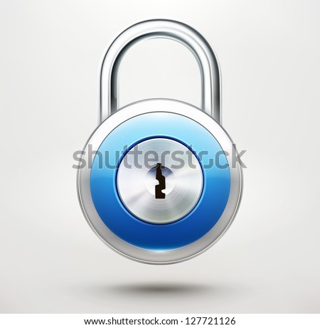 Vector illustration of security concept with locked blue pad lock - stock vector