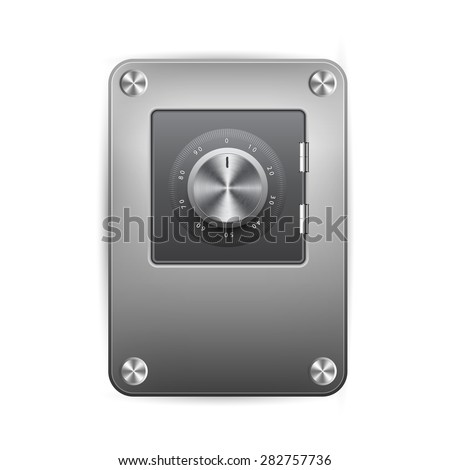 Vector illustration of security concept with metal safe icon , safe lock. - stock vector