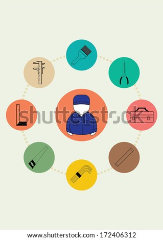 Vector illustration of Set icons tools NO.2 - stock vector