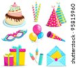 vector illustration of set of birthday object against white background - stock vector