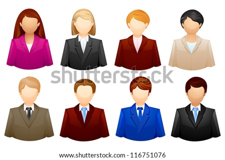 vector illustration of set of business people icon - stock vector