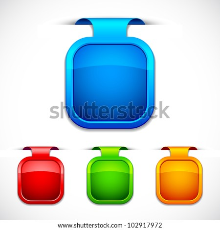 vector illustration of set of colorful glossy label - stock vector