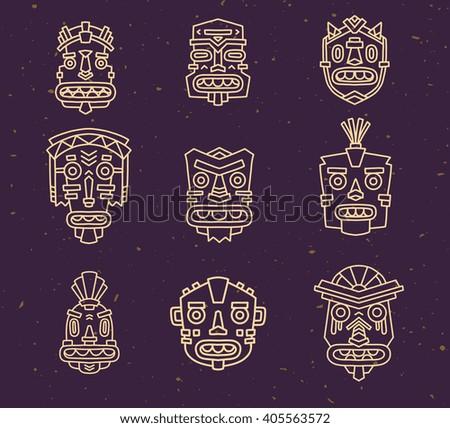 Vector illustration of set of ethnic tribal colorful masks on dark sand texture background. Hand drawn line art design. Ethnic mask. Tribal mask. Vector mask. Mask eps. Mask line art. - stock vector