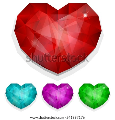 Vector illustration of Set of gems heart in different color - stock vector