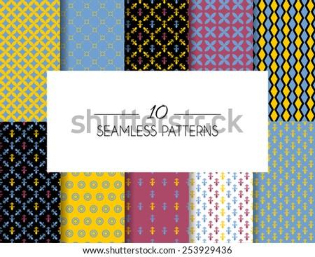 Vector illustration of  Set of geometric seamless patterns - stock vector