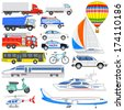 vector illustration of set of means of transport - stock vector