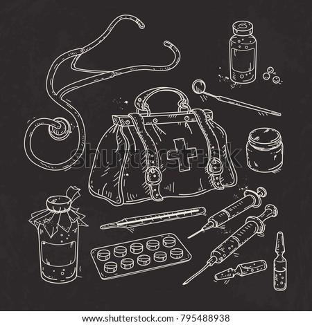 Vector Illustration Of Set Medical Tools Doctor Bag Medicines Pills And Syringes