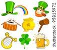vector illustration of set of Saint Patrick's Day symbol - stock vector