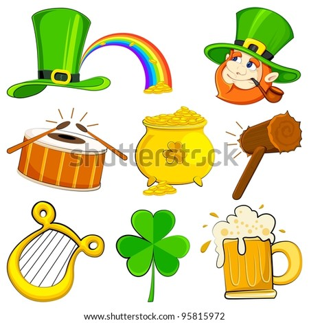 vector illustration of set of Saint Patrick's Day symbol - stock vector
