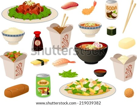 Vector illustration of several asian food items/dishes. - stock vector