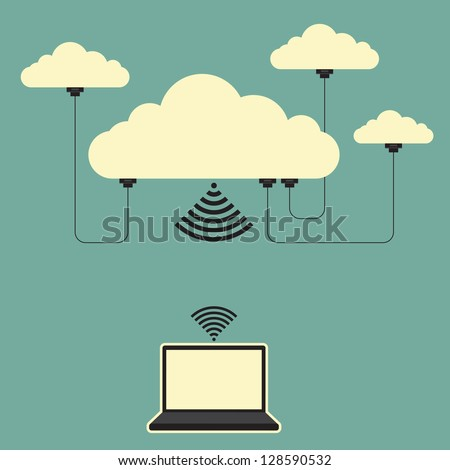 Vector illustration of several connected online cloud storages and a laptop. - stock vector