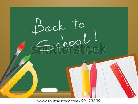 Vector illustration of several educational objects - stock vector
