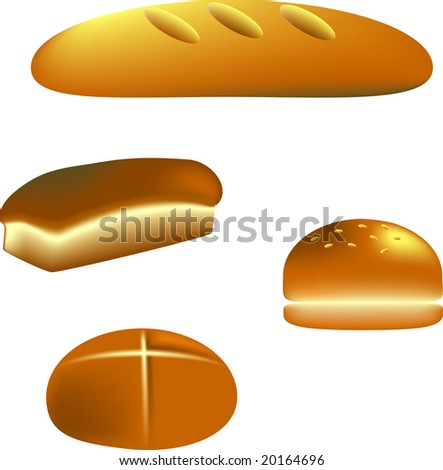 Vector Illustration of Several Types of Bread - stock vector