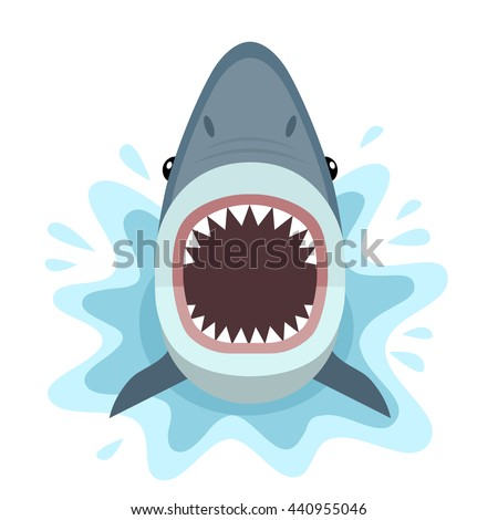 Vector illustration of shark with open mouth full of sharp teeth, isolated on a white background. Shark attacks from the water. - stock vector