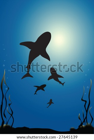 Vector illustration of sharks silhouetted against the surface of the sea - stock vector