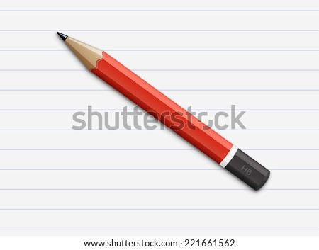 Vector illustration of sharpened fat red pencil with paper page - stock vector